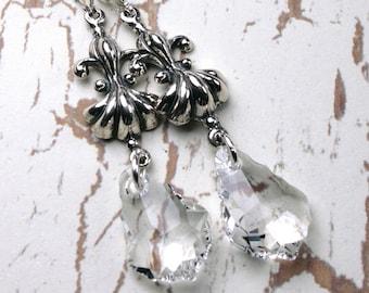 ON SALE - Romantic Fleur-de-Lis Crystal Drop Earrings- OOAK - Swarovski Crystal and All Sterling Silver - Sterling Silver Leverbacks