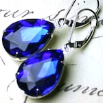 Free Shipping - Sapphire Blue Vintage Jeweled Earrings - Estate Style Earrings - Sterling Silver Lever Backs