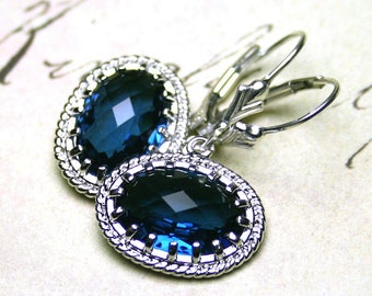 Sapphire Victorian Earrings - Gothic Dark Blue and Silver Earrings - Sterling Silver Lever Backs - Free Shipping