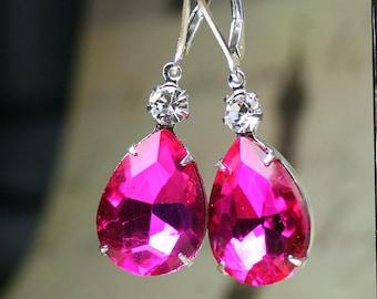 Hot Pink Vintage Jeweled Earrings - Sterling Silver Lever Backs - Fuchsia Pink Teardrop Earrings - Free Shipping