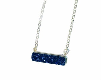 Sapphire Druzy Quartz Bar Pendant - Sterling Silver and Sparkling Blue Druzy Stone Modern Necklace - Minimalist Pendant - Free Shipping