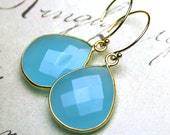 Blue Chalcedony Earrings in Gold - Turquoise Drops With 14K Gold Filled Earwires - Aqua Blue Gemstone Earrings in 14K Gold Filled