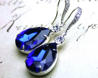 Sapphire Blue Vintage Jeweled Earrings - Sterling Silver And CZ Earwires With Royal Blue And Clear Jewels - Free Shipping