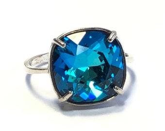 Bermuda Blue Swarovski Crystal Ring - Square Cushion Cut Stone - Sterling Silver Ring - Free Shipping