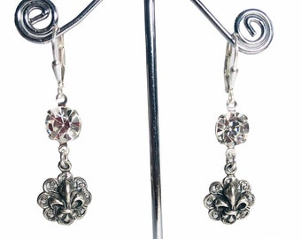 Fleur-de-Lis Earrings - OOAK - Swarovski Crystal- Sterling Silver French Charms with Sterling Silver Lever Backs - Free Shipping