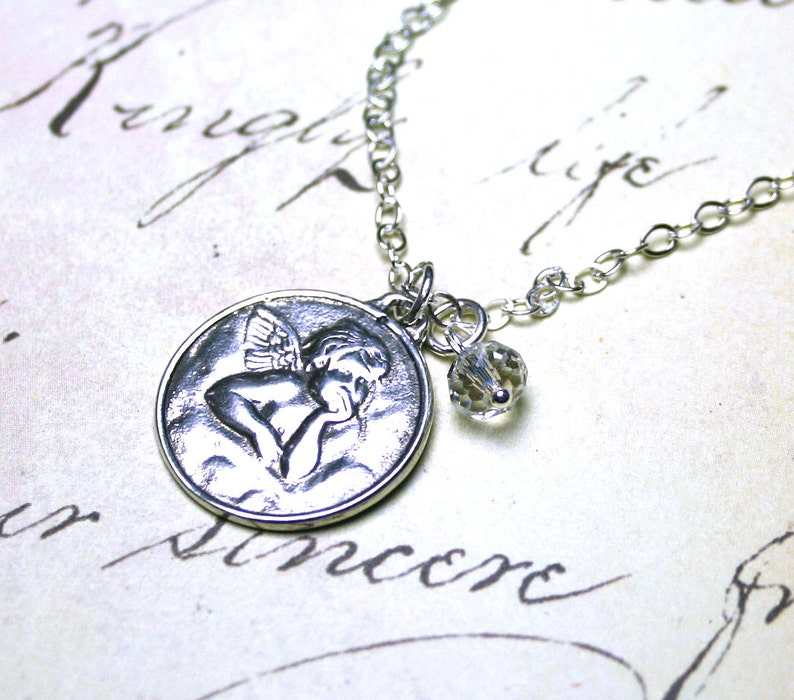 Free Shipping Handmade with All Sterling Silver The Little Cherub Necklace Raphael/'s Angel Pendant