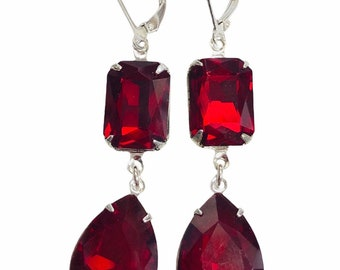 Red Vintage Jewel Earrings - One Of A Kind - Long Scarlet Earrings With Sterling Silver Lever Backs - Free Shipping