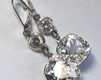 Swarovski Crystal Earrings - Cushion Cut Stones With CZ Accent - Sterling Silver Lever Back - Free Shipping