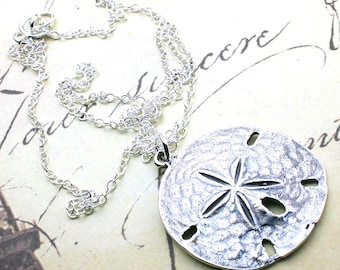 Sterling Silver Sand Dollar Pendant - Sand Dollar Necklace - All Sterling Silver