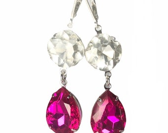 Hot Pink Vintage Jewel Earrings - One Of A Kind - Long Pink And Clear  Earrings With Sterling Silver Lever Backs - Free Shipping