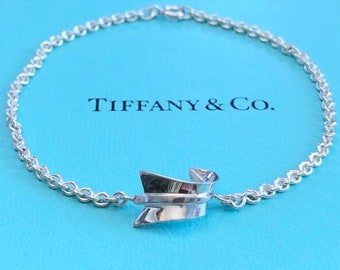 Rare Vintage 1980's Tiffany & Co by Angela Cummings Bent Arrow Bracelet in Sterling Silver - Free Shipping