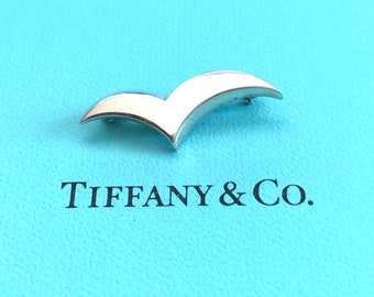 Vintage 1980's Tiffany & Co Sterling Silver Seagull Pin - Free Shipping