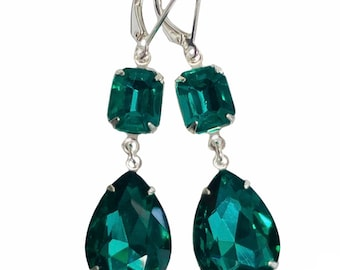 Emerald Green Vintage Jewel Earrings - One Of A Kind - Long Dark Green Earrings With Sterling Silver Lever Backs - Free Shipping