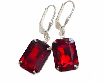 Red Vintage Jewel Earrings - Scarlet Red Emerald Cut Earrings With Sterling Silver Lever Backs - Free Shipping