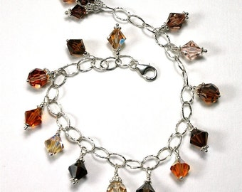 Luxe Swarovski Crystal Bracelet In Shades of Topaz - OOAK - Swarovski Crystal Beads And All Sterling Silver - Free Shipping