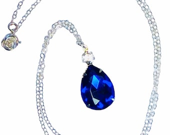 Sapphire Blue Vintage Jewel Necklace - Royal Blue Teardrop Pendant - Sterling Silver - Free Shipping