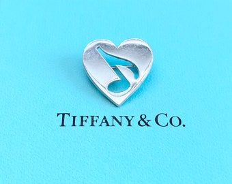 Extremely Rare Vintage 1980's Tiffany & Co. Sterling Silver Heart With A Music Note Pin - Free Shipping