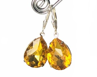 Yellow Topaz Vintage Jewel Earrings - OOAK - Golden Teardrop Earrings With Sterling Silver Lever Backs - Free Shipping