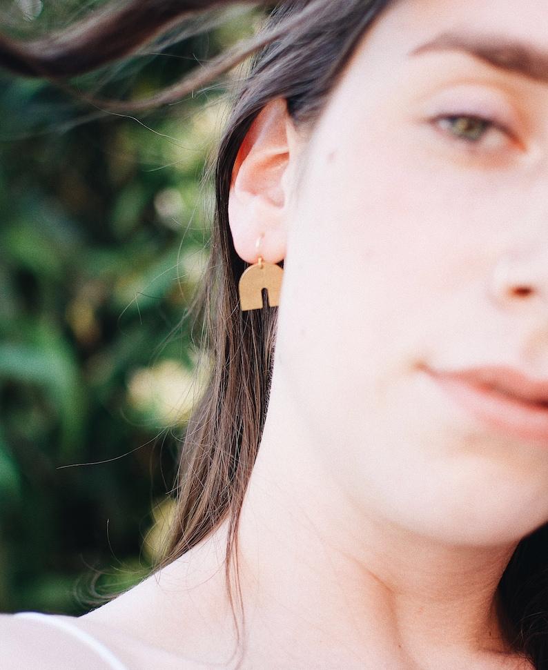 Brass Simple Rainbow Earrings