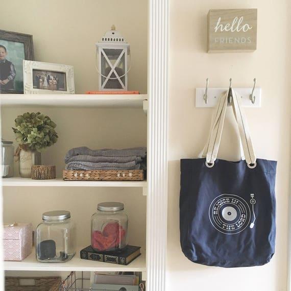 Se réjouir dans le Seigneur tourne-disque rétro école sac en toile bleu marin, sac en toile, sac tous les jours, les agriculteurs marché sac, grand sac à bandoulière