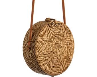 3d345ac71131 SALE 20cm Nusa Rattan Bag, Round Bag, Straw Bag, Bamboo Bag, Handmade from  Bali