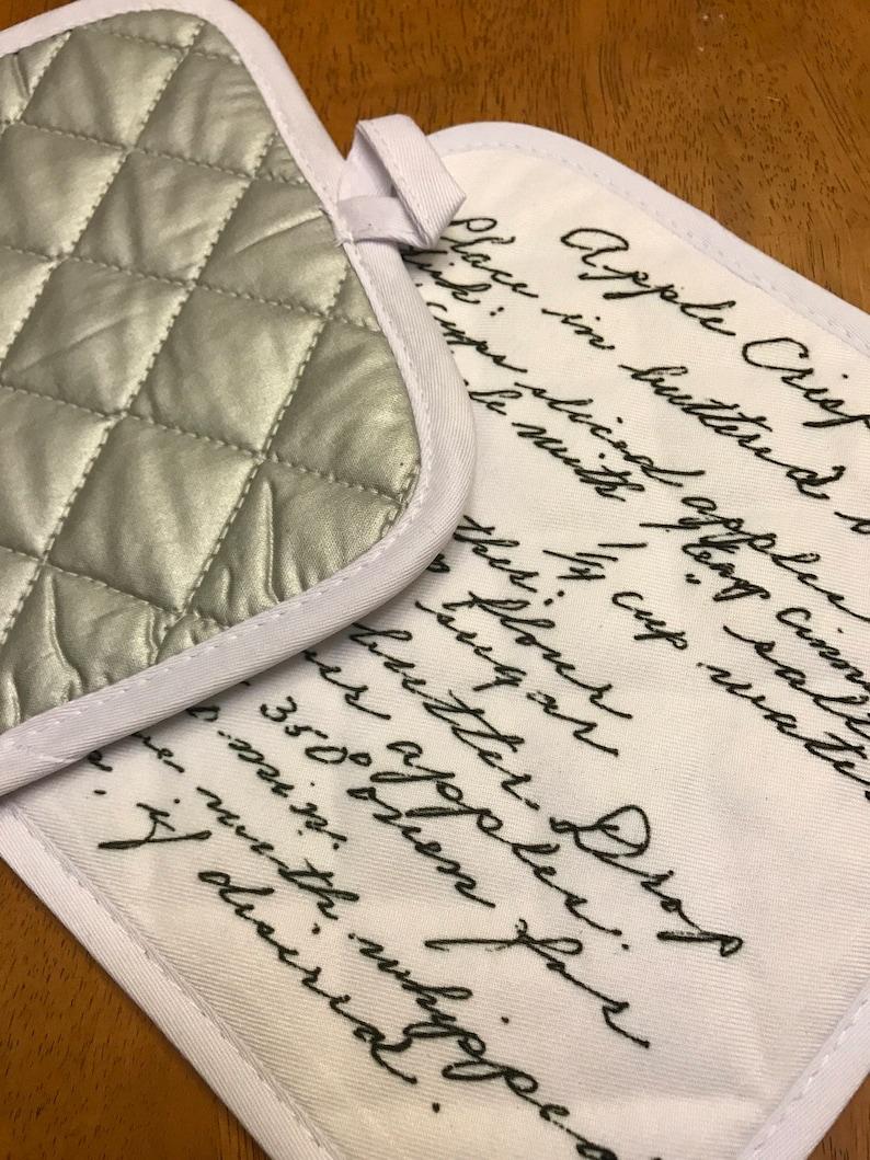 Hostess Gift Custom Handwriting Recipe Pot Holder Bridal Gift Housewarming Gift Hot Pad Sentimental Pot Holder Gift