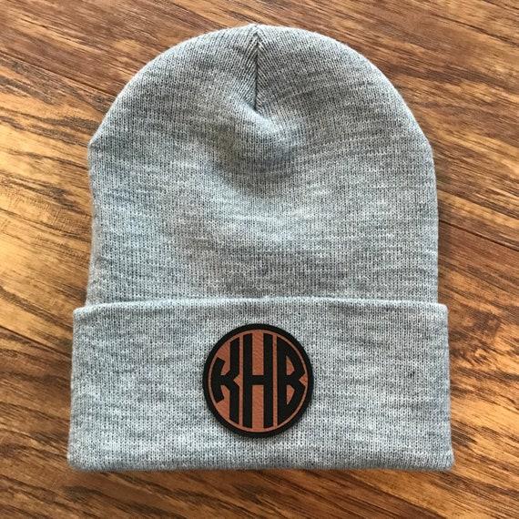 eaa533f5ba1 Custom Circle Monogram Patch Beanie Hat Leather