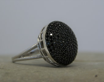 Size 7 ICY Rutilated Quartz Black Spinel and Genuine White Topaz Cocktail Ring in Platinum over Sterling Silver
