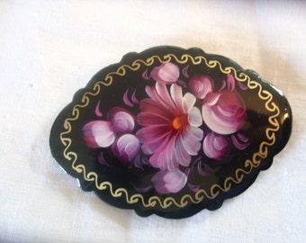 Vintage - Hand Painted Flower Brooch