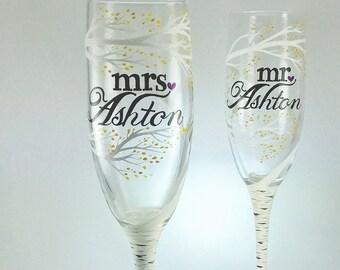 Birch Tree mr and mrs Wedding Toasting Flutes