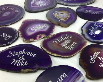 Calligraphy Agate Place Cards