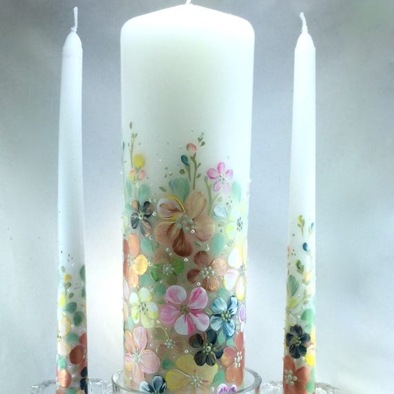 ceremonial candle set Wedding Unity Candle Set hand painted and customizable