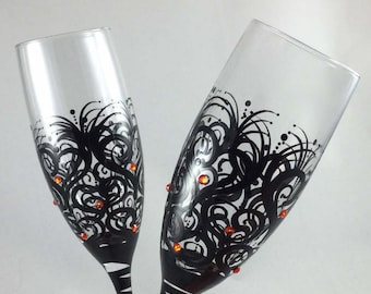 Wedding Toasting Flutes with colored crystals, optional personalization