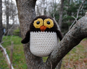 Woolie Owl Hand Crocheted Plush-Brown
