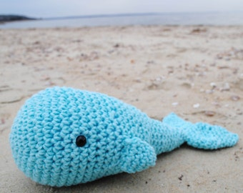 Woolie Whale Hand Crocheted Plushie - Turq - Large
