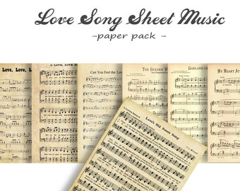 VINTAGE SHEET MUSIC - Digital Paper Pack - 7  Romantic Love Songs  -Instant Download Digital Printable Papers- Wedding, Valentines more