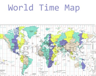 Time zone map   Etsy
