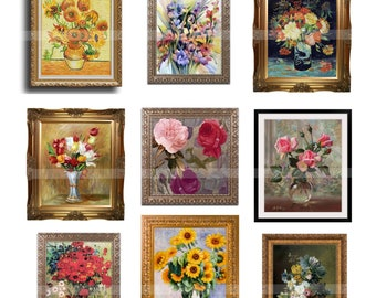 Doll house miniature Framed Paintings MINIATURE PAINTING MASTERPIECES Instant Download Digital Printable-12 paintings for dollhouses crafts