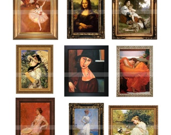 Miniature Framed Paintings - Dollhouse PORTRAIT PAINTING MASTERPIECES Instant Download Digital Printable-12 paintings for dollhouses crafts