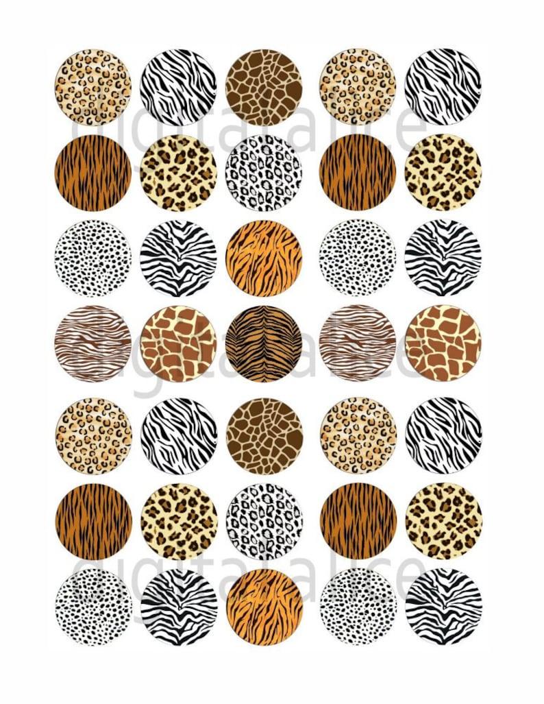 Tiger Fur ANIMAL PRINT Craft Circles 33mm Instant Download Digital Printable  -Bottlecaps Collage Sheet Cheetah Leopard DiY