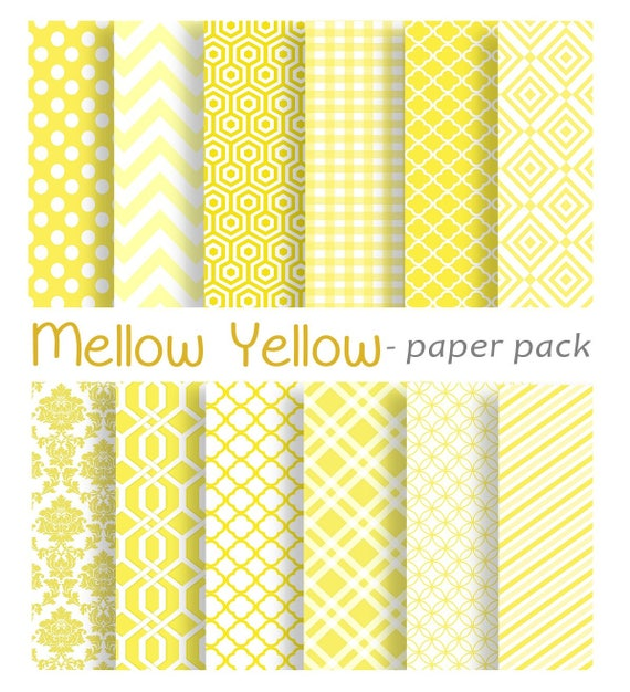 Modern Prints Digital Papers Scrapbook Paper Pack Yellow Etsy