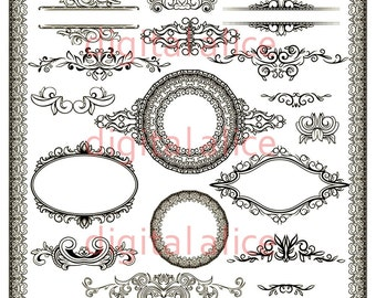 FANCY BORDERS FRaMES and FLOURISHES - Digital Download - Clip Art Printable - Scrapbooking more