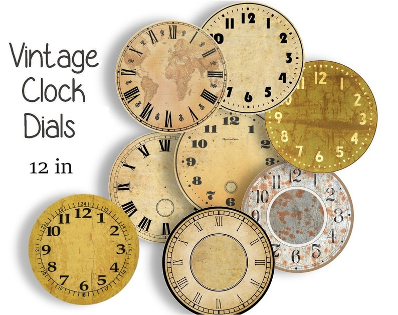 photograph relating to Printable Clock Faces for Crafts referred to as Common CLOCK FACES - 12 inch Craft Circles - 8 Quick Down load Electronic Printable Clock Observe Dials Steampunk Professional Antique Clocks