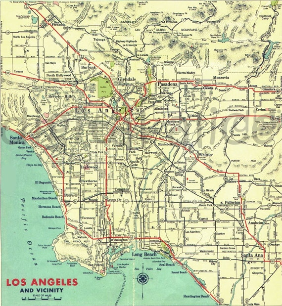 image relating to Printable Map of Los Angeles identified as Los Angeles Electronic Map - Printable Map Down load - Metropolis of LA - Colourful Antique Map Immediate Obtain Electronic Printable Map