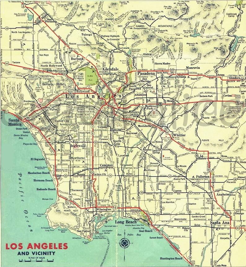 Los Angeles Digital Map Printable Map Download City of LA   Etsy on
