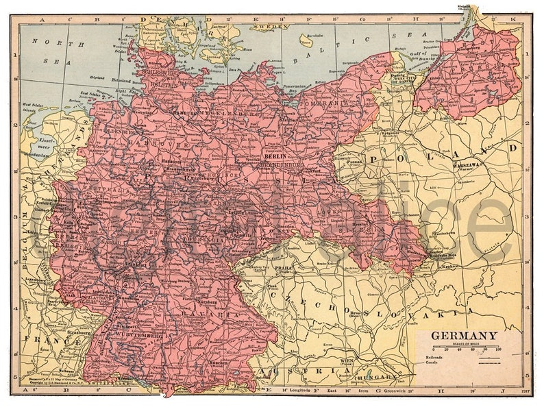 Map Of Old Germany.Vintage Map Of Germany Instant Download Digital Printable Etsy