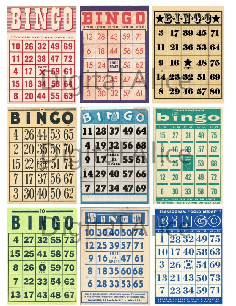 picture regarding Printable Number Bingo Cards 1 75 known as Basic BINGO Playing cards -Quick Down load Printable - 9 Mini Video game Playing cards and aceo atc buying and selling card dimensions - Electronic Down load Bingo Do-it-yourself
