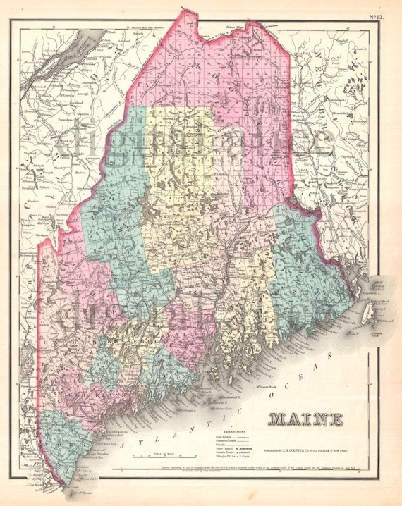 Vintage MAINE STATE MAP - Old Map 1855 Maine - Instant Download Digital on colorado state map, maryland state map, maine forest, kentucky state map, idaho state map, maine political map, maine us map, alaska state map, new hampshire state map, maine flower, united state map, vermont state map, maine product map, nevada state map, washington state map, california state map, maine counties map, maine flag, rhode island state map, missouri state map,