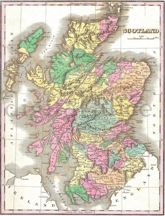 Cartina Scozia Dettagliata.Vintage Mappa Scozia Instant Download Digitale Stampabile Etsy