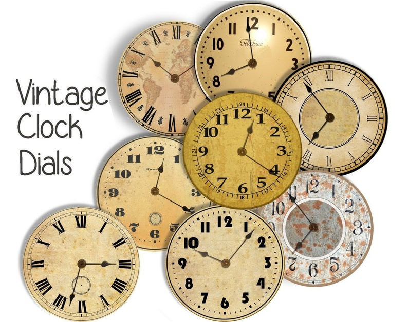 photo about Printable Clock Faces for Crafts known as Typical CLOCK DIAL FACES - 8 8 inch Craft Circles - Instantaneous Down load Electronic Printable Clock See Dials Steampunk Antique Clocks